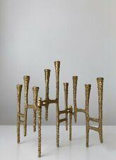 Mid-Century Modern Brutalist Brass Bronze Menorah Marked Jerusalem Folding