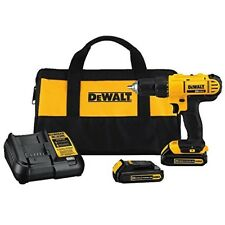 Cordless Drill with 2 Battery and Charger Compact Electric Power Tool Driver Set
