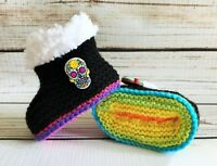 Baby Goth Emo Punk Hand Knitted Crochet Booties Boots Sugar Skulls 0-12M Rainbow
