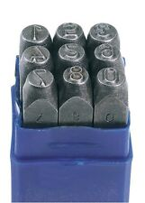 "0 - 9 METAL NUMBER STAMP PUNCH SET HEIGHT 6.35mm 1/4"" HARDENED POSTCODE (37338)"