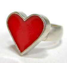 SoHo® Ring retro kleines rotes Herz silber Kunstharz resin red rot SoHo