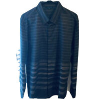 Perry Ellis Men's-Size  XL Black and Gray Striped Long Sleeve Shirt NWT