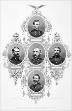 PORTRAITS of several UNION GENERALS, Department of EAST - Engraving from 19th