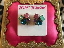 Betsey Johnson Sweet Shop Sweetshop Multi Crystal Cluster Stud Earrings SOLD OUT