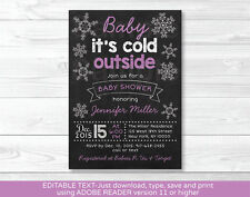 Baby its cold outside Purple Snowflake Baby Shower Invitation Editable PDF