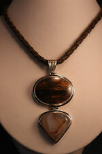 925 Silver Pendant with Mahogany obsidian And Vanadinite 49.3 Gr. 9 Cm. Long