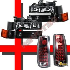 94-98 Chevy C10 Silverado Tahoe Suburban Black Headlights Set & LED Tail Lights