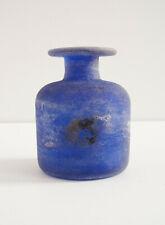 Vintage Murano Signed Cenedese Scavo Blue Glass Vase Italian Modern