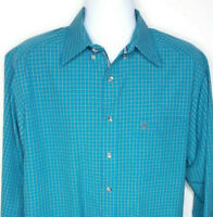 Ariat Pro Series Long Sleeve Turqouise Plaid Shirt Mens Size Large Tall NEW