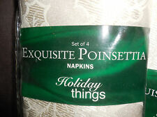 NEW Dining Room Cloth Napkins 2  Sets of 4 Cream Poinsettia new linens and thing