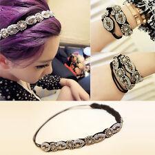 Fashion Best  Vintage Women's Retro Crystal Rhinestone Beads Headband Hair  Gri