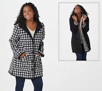 Susan Graver Weekend Reversible Polar Fleece Coat - Black/Houndstooth - XS