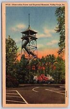Observation Fire Tower Dogwood Bloom Valley Forge, Pennsylvania Linen Postcard