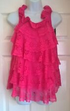 Almost Famous  Laser Cut Tier Front Blouse/Top Pink Size 8 BNWT