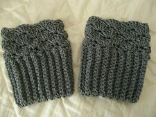Handmade Crochet Boot Cuffs Leg Warmers Ladies Fashion Accessories Grey Gift