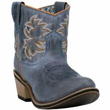 """Laredo Womens 6"""" Shortie Navy Sapphyre Leather Cowboy Boots with Round Toe"""