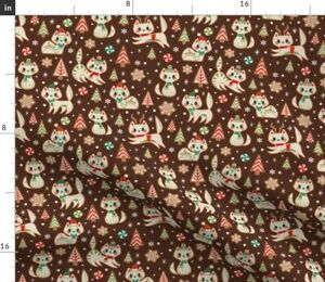 Retro Gingerbread Christmas Cookies Gingerbread Spoonflower Fabric by the Yard