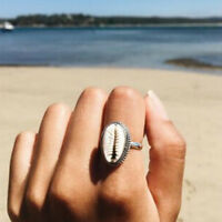 Boho Nature Cowrie Shell Ring handmade silver Band Rings Jewelry Gift