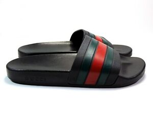 GUCCI MENS SANDAL SLIDES MADE ITALY RED GREEN BLACK RUBBER SIZE 11