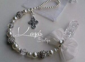 Bling Shamballa Pearl & Crystal Romany Dummy Clip Christening Gift Ivory