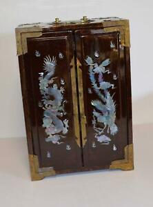 "Asian /Chinese Mother Of Pearl DRAGON  Inlay Lacquer Jewelry Box 13"" Tall"
