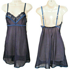 Victoria's Secret Small Lace Babydoll Nightgown Blue Sexy Sheer