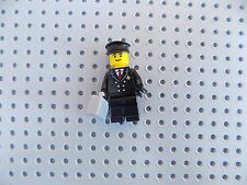Lego Minifigure Town City Airport Airplane Pilot w/ Black Hat, Gray Briefcase