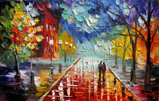 "Stretched""Our Night"" Painting Palette Knife Oil Painting ,Hand Painte on Canvas"