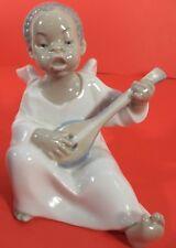 Lladro Valencia-Espana Vintage Porcelin Black Angel Playing Mandolin Euc w Box