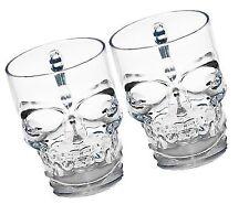 73cf7f2aa2fa Circleware Skull Face Glass Beer Mug Drinking Glasses With Handle Set of 2  18oz
