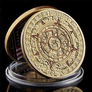 1.57*0.12 Mayan Aztec Calendar Mexico Art Prophecy Culture Gold Coin Collectible