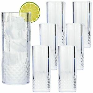 6PK CLEAR CRYSTAL EFFECT LONG PLASTIC DRINK HIGHBALL TUMBLERS REUSABLE GLASSES