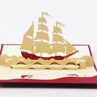 Handmade 3D Sailing Ship Boat Greeting Card Happy Birthday Mid Auntum Gift