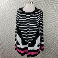 CJ Banks plus size 2X 18/20 Cardigan Pullover Sweater stripe comfort career open