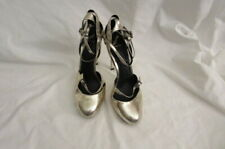 Brian Atwood Silver Strappy Platform Heels 38 US 7.5 As-Is