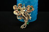 925 STERLING SILVER LARGE GOLD TONE GREEN CZ ACCENT FLOWERS PIN BROOCH #18058
