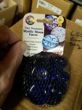 Retired mega marbles dk blue Glass Mystic  Moon Face  WHOLE CASE 24 NET BAGS