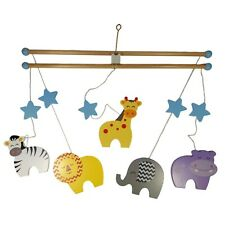 NEW Wooden Hanging SAFARI ANIMAL MOBILE Baby Nursery Bedroom Decoration Children