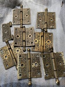 """Antique Heavy  Authentic Sargent Lot Of 7 Brass Door  Hinges  3 1/2"""" By 3 1/2"""""""