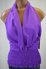 XOXO Juniors Womens Purple Halter Slinky Belly Shirt size S NWT