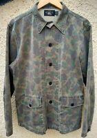 Mens Double RL RRL Ralph Lauren Military Camo Green Overshirt Shirt Jacket M USA