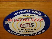"VINTAGE WINCHESTER RIFLE FLASHLIGHT BATTERY 11 3/4"" PORCELAIN METAL GAS OIL SIGN"