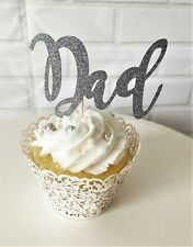 X6 Large-Happy Fathers Day Cupcake Toppers//Plant Picks-Fathers Day-Dad-Silver