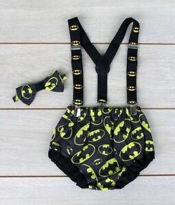 Batman 3 Piece Cake Smash Outfit - First Birthday Set - Baby Boy - Superhero