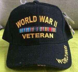 World War II Veteran Black Hat NWT Rapid Dominance One Size Fits All Hook & Loop
