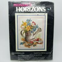 Counted Cross Stitch Kit Flower Garden Watering Can CS68 11 x 14 inch Vintage
