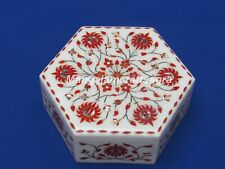 "7"" x 7"" x 3"" Marble Jewelry Box Carnelian Semi Precious Stone Handmade For Gifts"