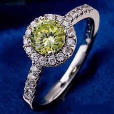 10 KT White Gold Filled Cubic Zirconia GREEN Women's Ring SIZE 8