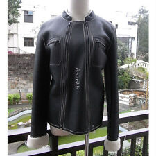 RARE CHANEL Black Lambskin Shearling Leather 2x Zip Jacket F38 I40 M