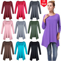 Women Loose T-shirt Dress Casual Blouse 3/4 Sleeve Basic Tops Stretch Fashion